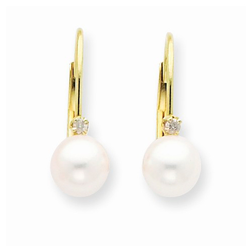 14kt Yellow Gold 5mm Freshwater Cultured Pearl Leverback Earrings with Diamonds