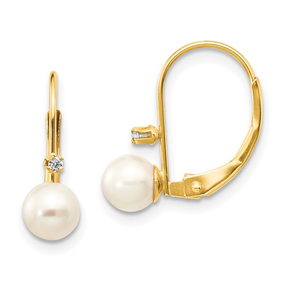 14kt Gold 5mm Freshwater Cultured Pearl Diamond Leverback Earrings