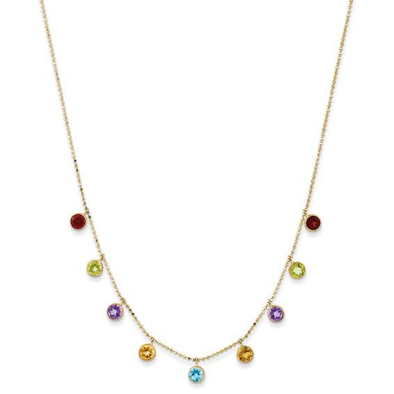 14kt Yellow Gold Amethyst Citrine Peridot Blue Topaz Garnet Station Necklace