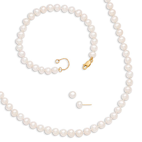 14kt Yellow Gold 6-6.5mm Freshwater Cultured Pearl 7.25in Bracelet 18in Necklace and Earrings Set