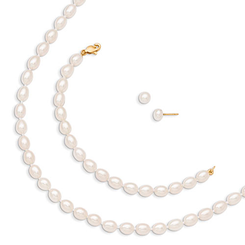 14kt Yellow Gold 5mm White Freshwater Cultured Pearl 5in Bracelet 14in Necklace and Earrings Set