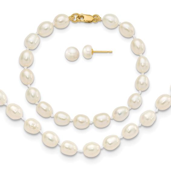 14kt Gold 5mm Freshwater Cultured Pearl Bracelet Necklace Earrings Set