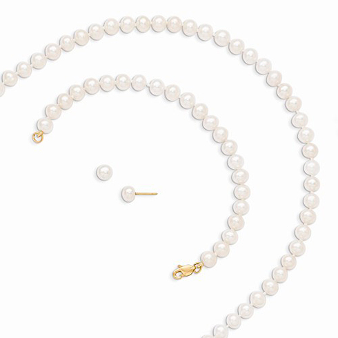 14kt Yellow Gold 5mm White Freshwater Cultured Pearl 5in Bracelet 14in Necklace Earrings Set