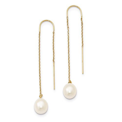 14kt Yellow Gold Threader Earrings with Freshwater Pearls