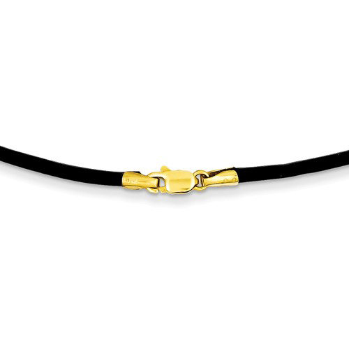 Black Leather Cord 18in Necklace with 14kt Yellow Gold Clasp