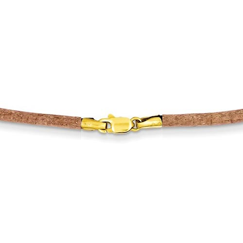 Natural Brown Leather Cord 18in Necklace with 14k Yellow Gold Clasp