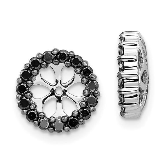 14kt White Gold Fancy 3/8 ct Black Diamond Earring Jackets