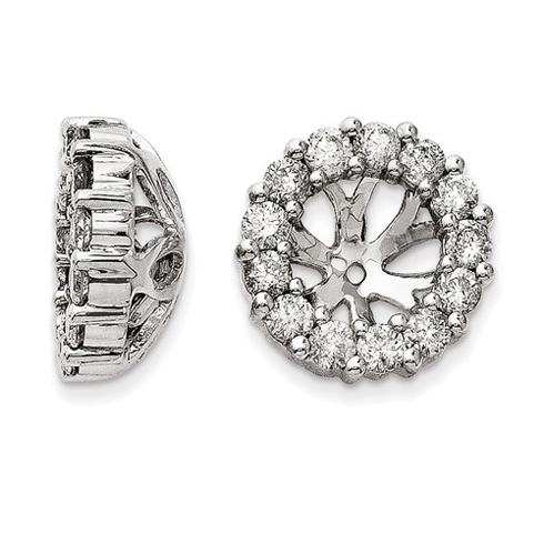 14kt White Gold 1 ct Diamond Earring Jackets