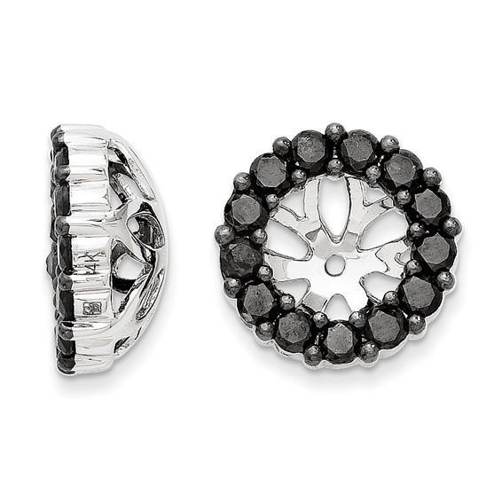 14kt White Gold Fancy 1 ct Black Diamond Earring Jackets