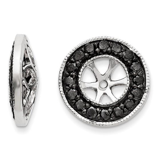 14kt White Gold 5/8 ct Black Diamond Earring Jackets