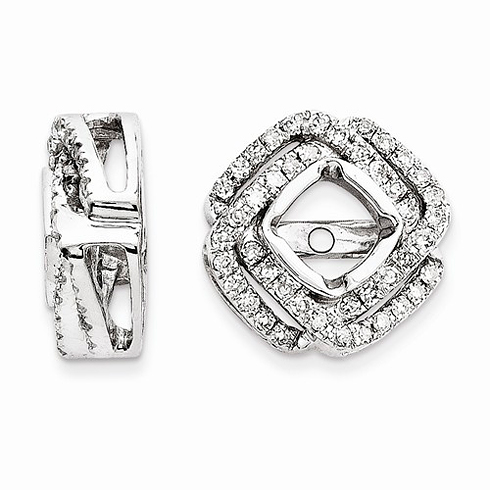 14kt White Gold 1/3 ct Cluster Diamond Square Earring Jackets
