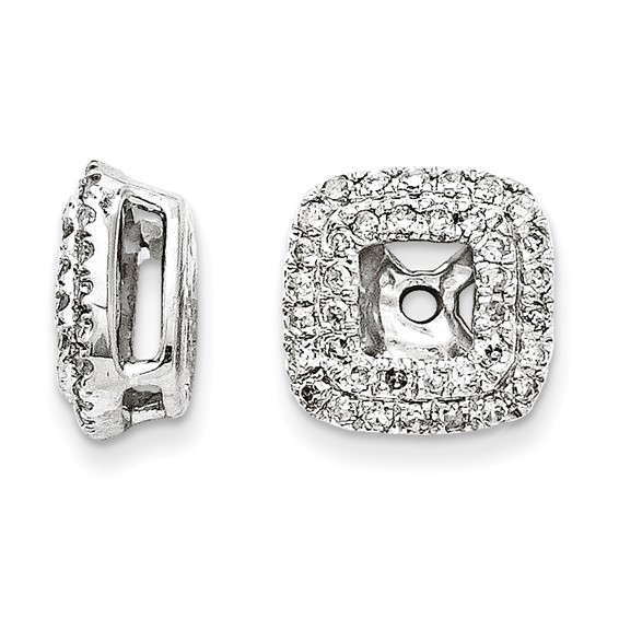 14kt White Gold 1/4 ct Cluster Diamond Square Earring Jackets