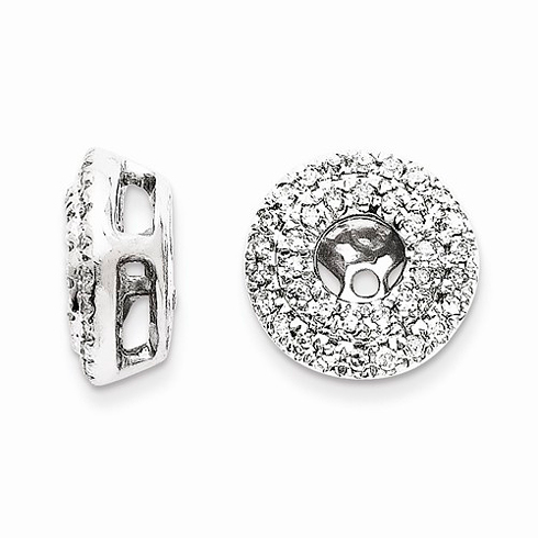 14kt White Gold 1/4 ct Cluster Diamond Earring Jackets