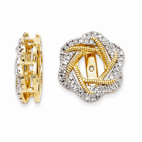 14kt Yellow Gold 1/3 ct Diamond Knot Earring Jackets