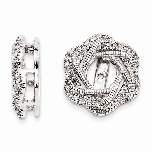 14kt White Gold 1/3 ct Diamond Knot Earring Jackets