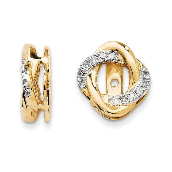 14kt Yellow Gold 1/8 ct Diamond Swirl Earring Jackets