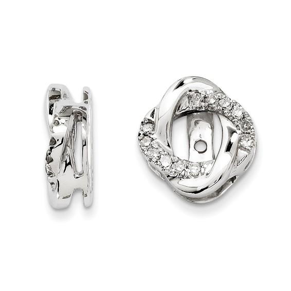 14kt White Gold 1/8 ct Diamond Swirl Earring Jackets
