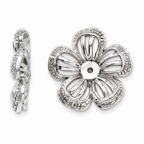 14kt White Gold .03 ct Diamond Flower Earring Jackets