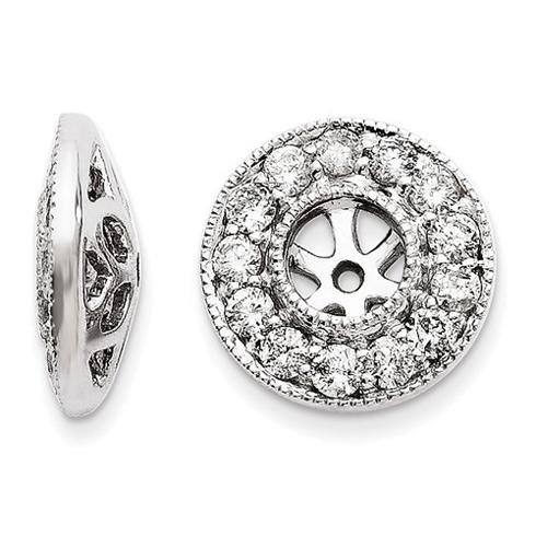 14kt White Gold Milgrain 1/2 ct Diamond Earring Jackets