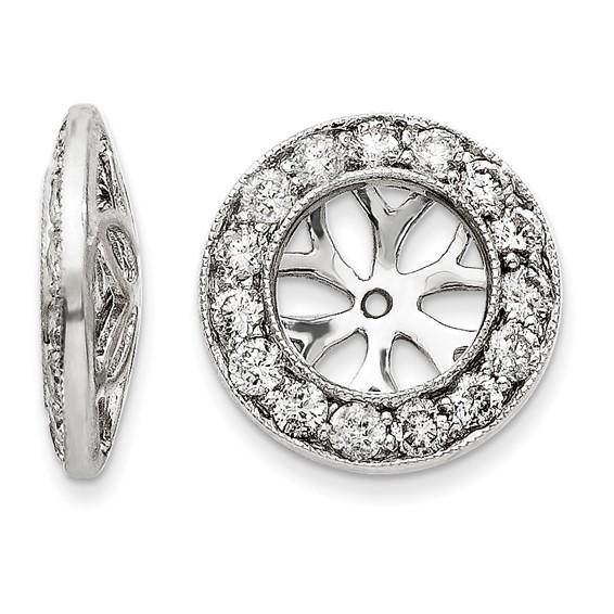 14kt White Gold Milgrain 1 ct Diamond Earring Jackets