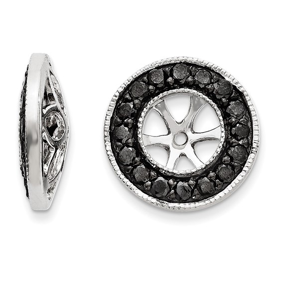 14kt White Gold 1/3 ct Black Diamond Earring Jackets