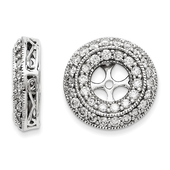 14kt White Gold 1 ct Diamond Earring Scroll Design Jackets