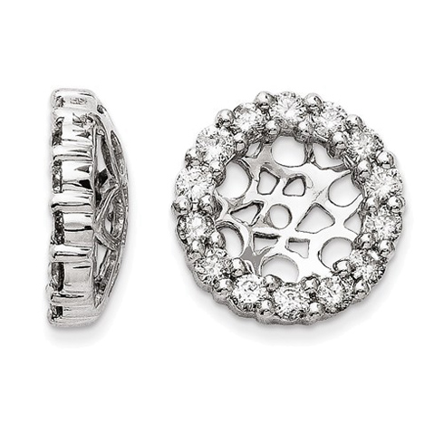 14kt White Gold Fancy 1 ct Diamond Earring Jackets
