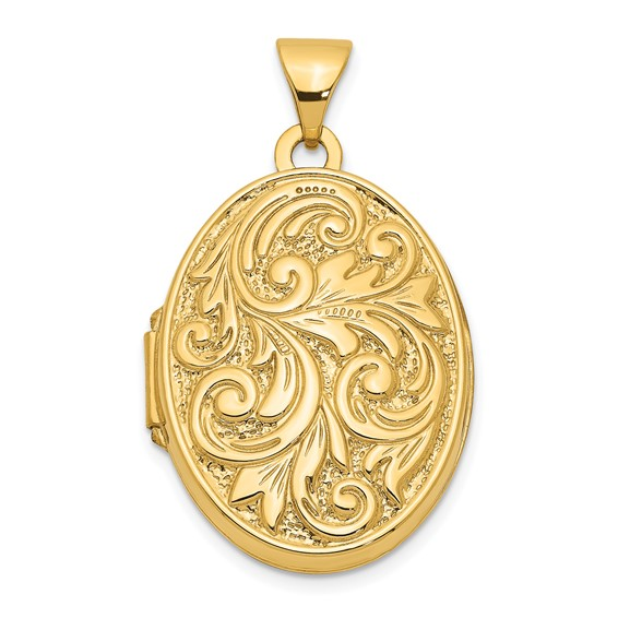 14kt Yellow Gold 21mm Oval Love you always Reversible Locket
