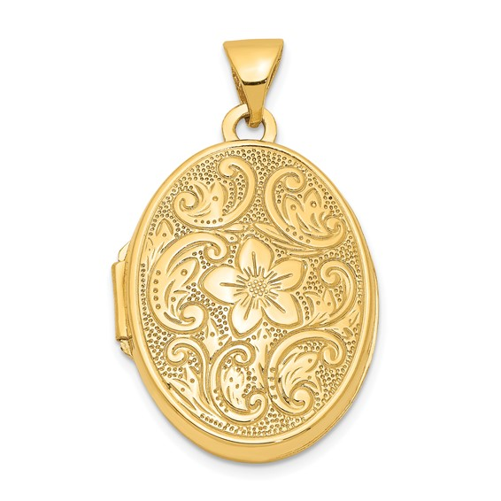 14kt Yellow Gold 21mm Scrolled Floral Locket