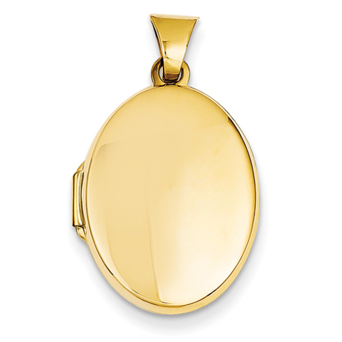 14kt Yellow Gold 7/8in Polished Flat Oval Locket