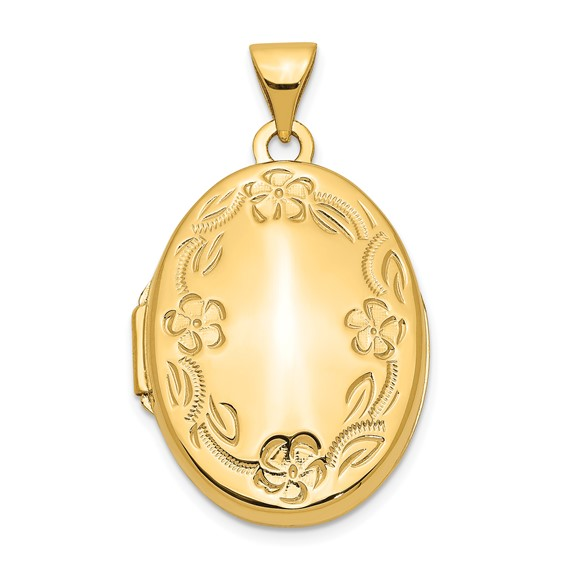 14kt Yellow Gold 7/8in Hand Engraved Locket