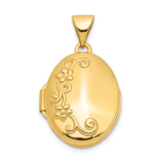 14kt Yellow Gold 17mm Floral Locket