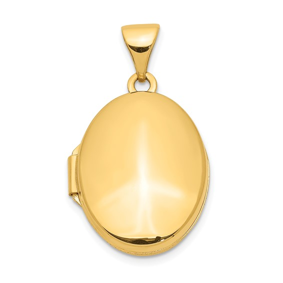 14kt Yellow Gold 5/8in Smooth Polished Oval Locket