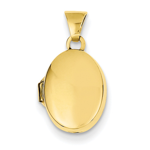 14kt Yellow Gold 1/2in Plain Polished Oval Locket
