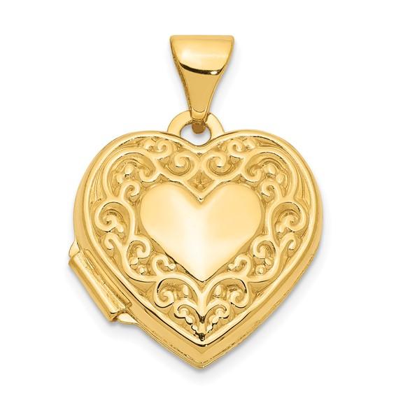 14kt Yellow Gold 5/8in Scroll Heart Locket