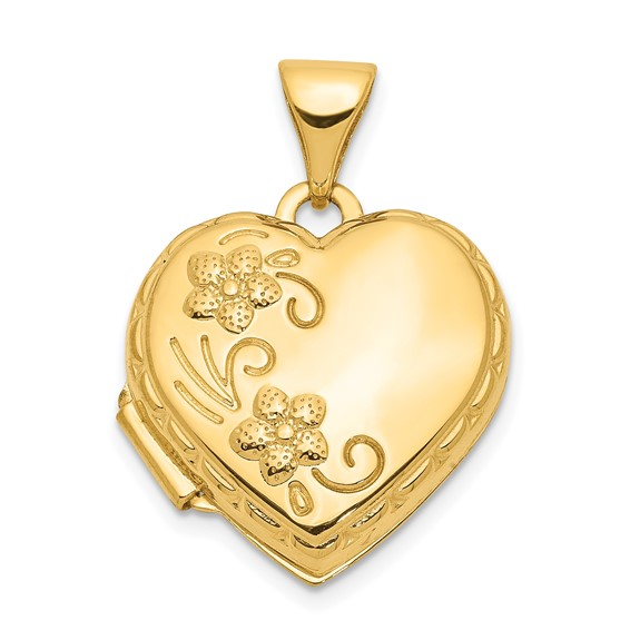 14kt Yellow Gold 15mm Hollow Domed Heart Locket with Flowers