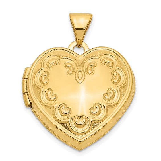 14kt Yellow Gold 18mm Domed Locket with Hearts