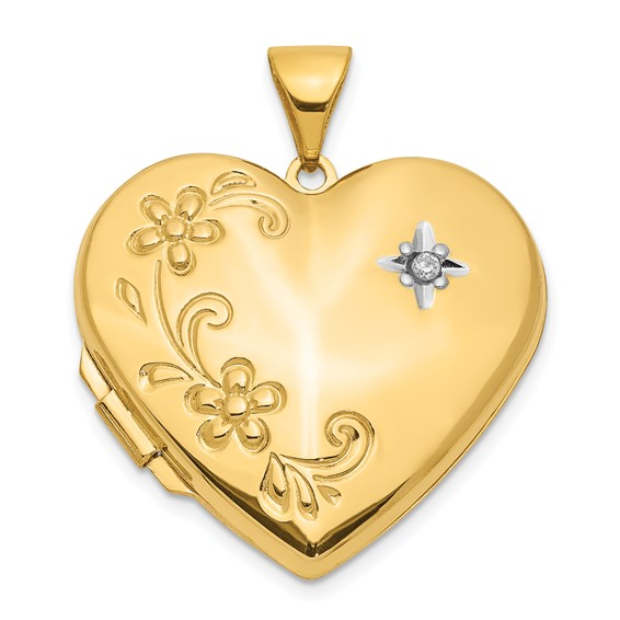 14kt Yellow Gold 7/8in Diamond Family Heart Locket