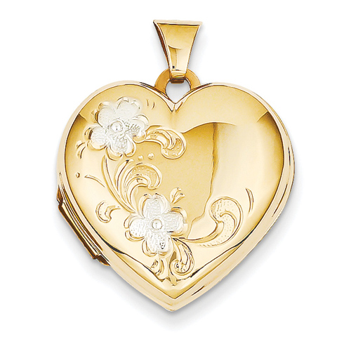 14kt Two-tone Gold 21mm Floral Heart Locket