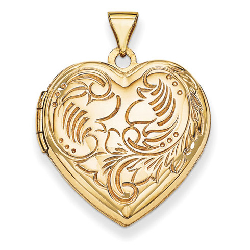 14kt Yellow Gold 21mm Domed Textured Heart Locket
