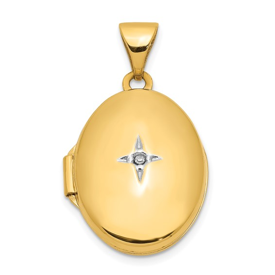 14kt Yellow Gold 17mm Oval Locket with Diamond Accent