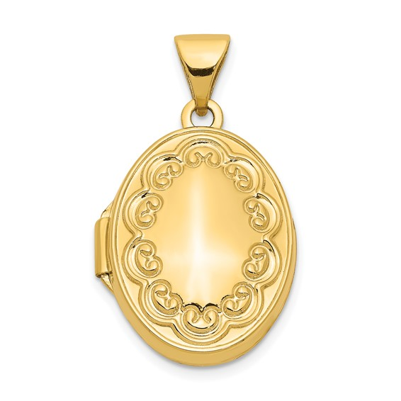 14kt Yellow Gold 17mm Oval Scroll Border Locket