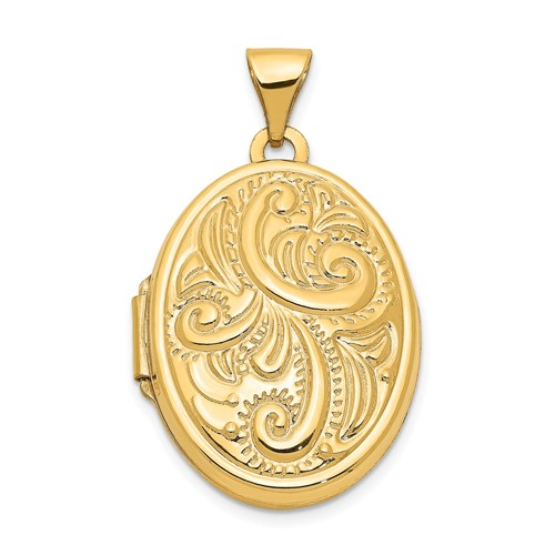 14kt Yellow Gold 21mm Domed Deco Oval Locket