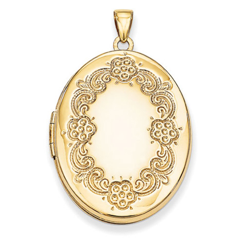 14kt Yellow Gold 32mm Oval Floral Locket
