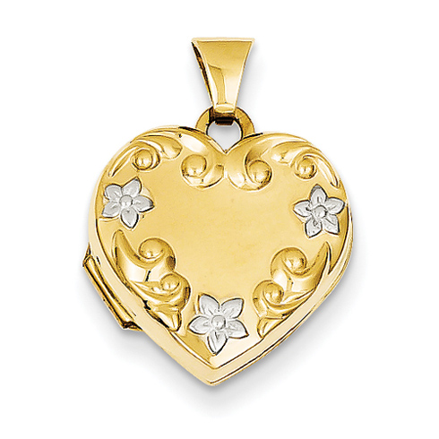 14kt Yellow Gold 5/8in Heart Locket with Rhodium Flowers