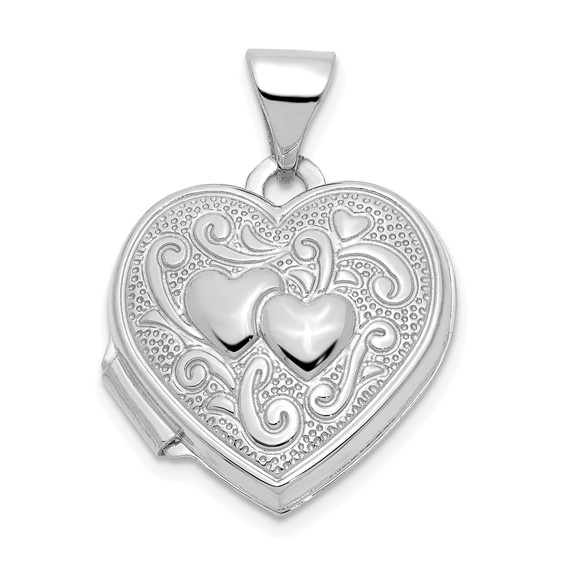 14kt White Gold 15mm Locket with Engraved Hearts
