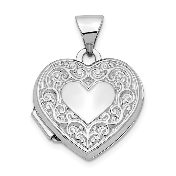 14kt White Gold 5/8in Scroll Heart Locket
