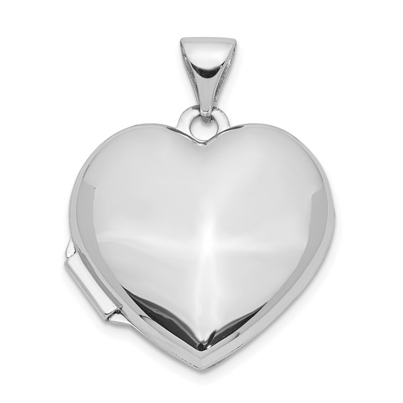 14kt White Gold Small Domed Heart Locket