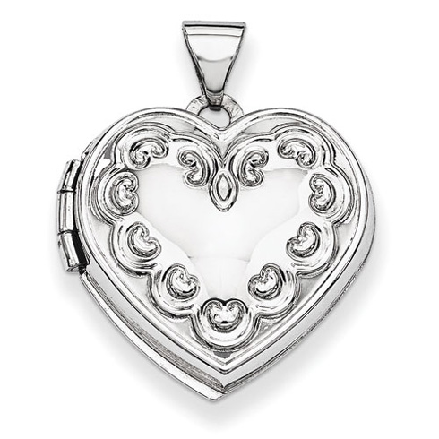 14kt White Gold 18mm Domed Locket with Hearts