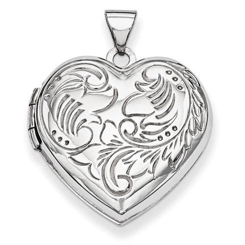 14kt White Gold 21mm Domed Textured Heart Locket